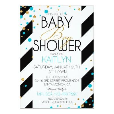 Gold Glitter Turquoise Sprinkles Baby Shower Invitation