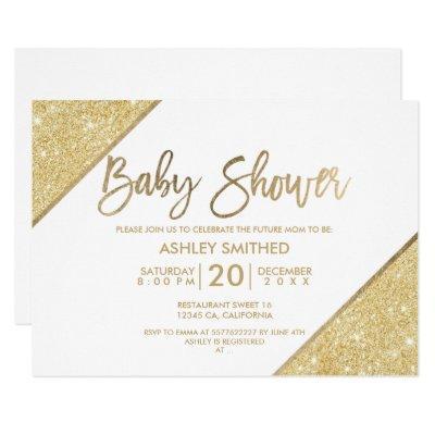 Gold glitter typography white baby shower invitation