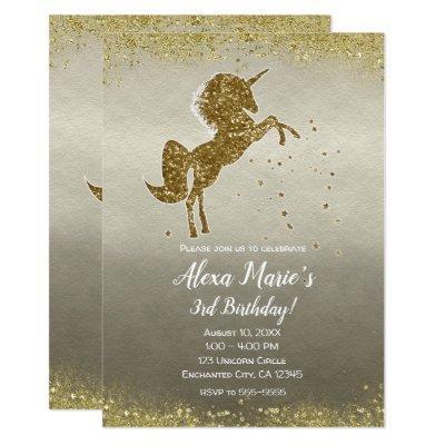 Gold Glitter Unicorn Stars Glam Birthday Party Invitations