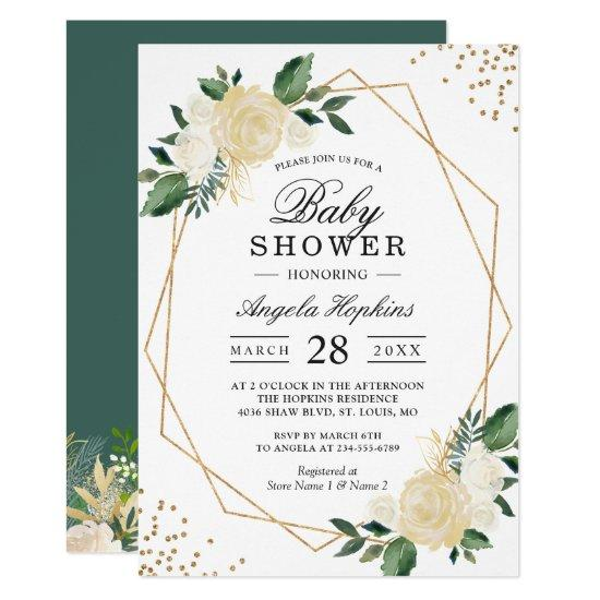 Gold Glitters Greenery Floral Baby Shower Brunch Card