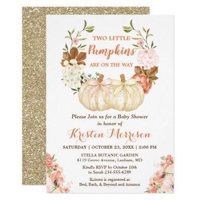 Gold Glitters Twins Pumpkins Fall Baby Shower Invitation