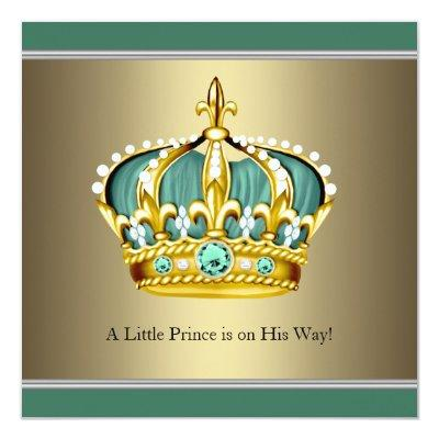 Gold Green Crown Prince Baby Boy Shower Invitations