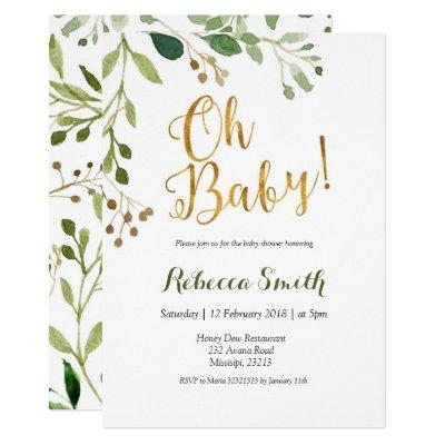 Gold Greenery Oh Baby Baby Shower Invitation