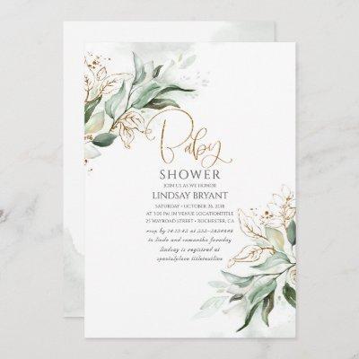 Gold Leaves Eucalyptus Greenery Cute Baby Shower Invitation