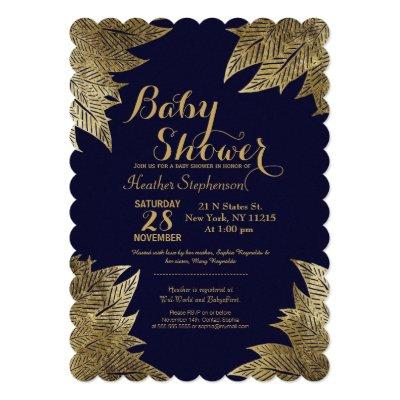 Gold Leaves on Navy Blue Baby Shower Invitations