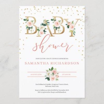 Gold Letters and Blush Floral Baby Shower Invite