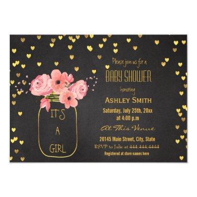 Gold Mason Jar Hearts Chalkboard Baby Shower Invitation