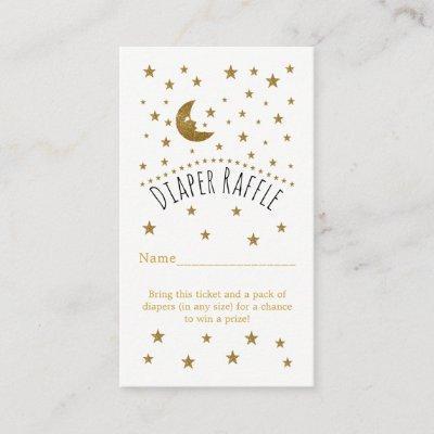 Gold Moon & Stars Baby Shower Diaper Raffle Ticket Enclosure Invitations