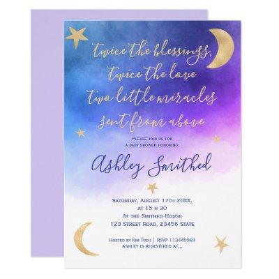 Gold moon stars pink watercolor twins baby shower invitation