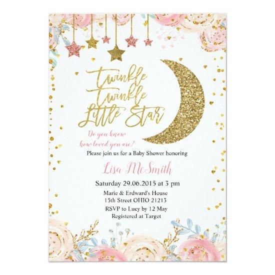 Gold Pink Twinkle Twinkle Little Star Baby Shower Invitation