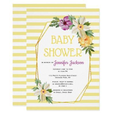 Gold polygon and flowers floral baby yellow shower Invitations
