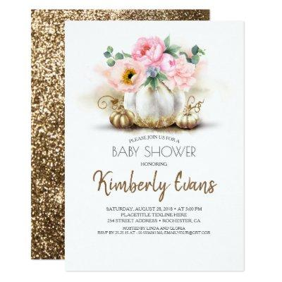 Gold Pumpkin Blush Pink Floral Fall Baby Shower Invitation