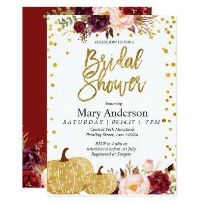 Gold pumpkin bridal shower Invitations