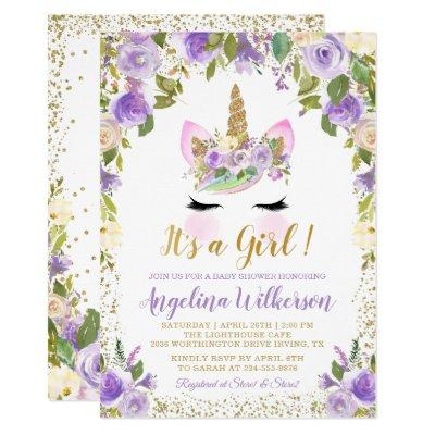 Gold Purple Floral Unicorn