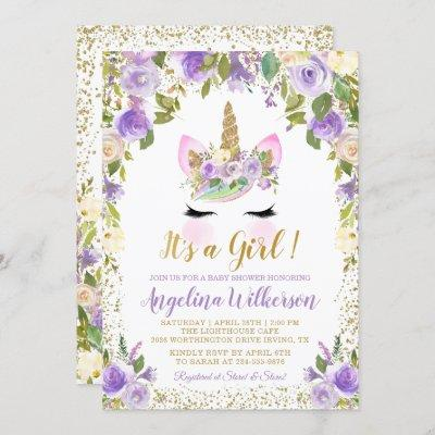 Gold Purple Floral Unicorn Baby Shower Invitations