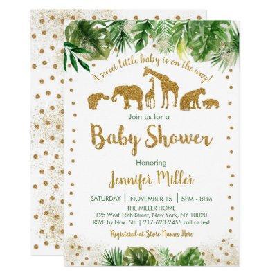 Gold Safari Animal Baby Shower Invitations