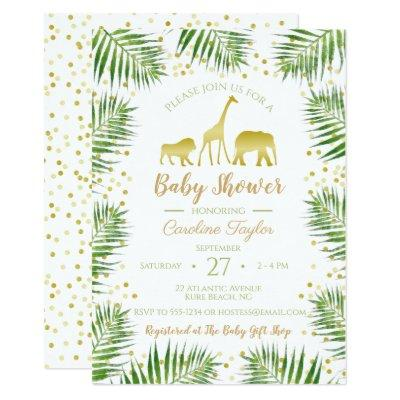 Gold Safari Animals Baby Shower Invitation