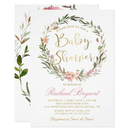 Gold Script Greenery Floral Wreath Baby Shower Card