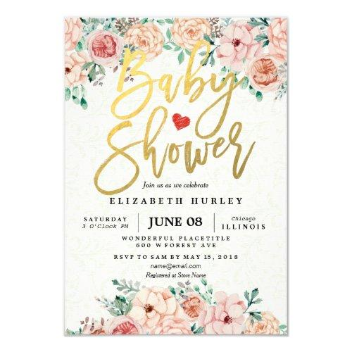 Gold Script & Watercolor Floral Baby Shower Invite