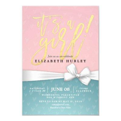 Gold Script White Ribbon Blue Pink Baby Shower Invitations