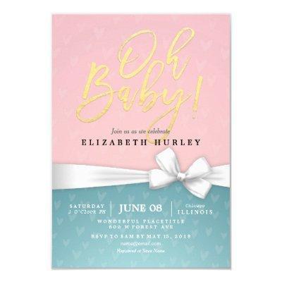 Gold Script White Ribbon Blue Pink Baby Shower Invitations