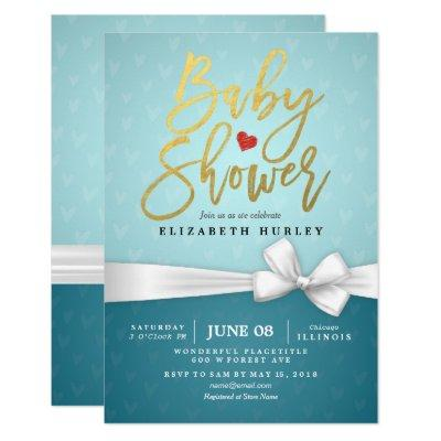 Gold Script White Ribbon Turquoise Invitations