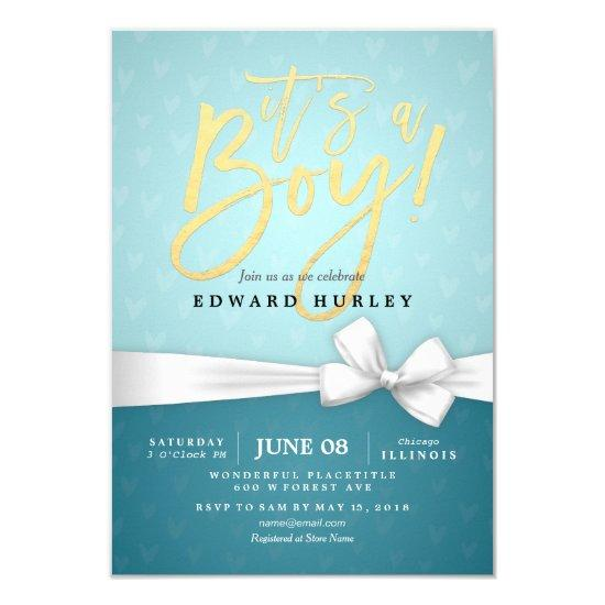 Gold Script White Ribbon Turquoise Baby Shower Card