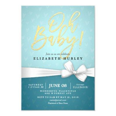 Gold Script White Ribbon Turquoise Baby Shower Invitation