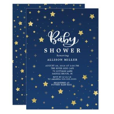Gold Starry Night Neutral Baby Shower Invitation