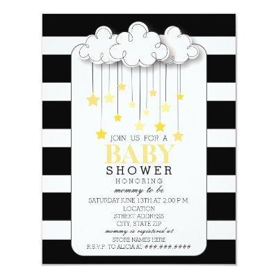 Gold Stars Cloud Black + White Neutral Baby Shower Invitations
