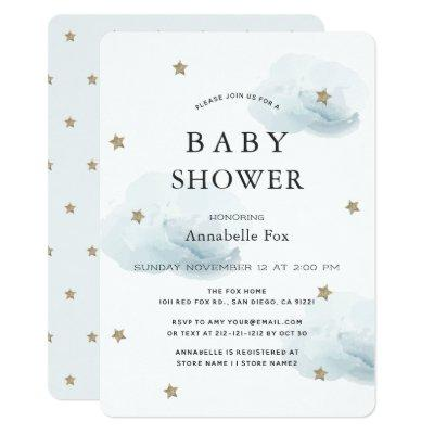 Gold Stars & Fluffy Clouds Baby Shower Invitations