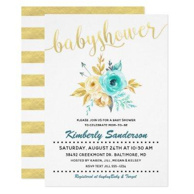 Gold Stripe Teal Floral Baby Shower Invitations