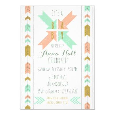 Gold Tribal Arrow Baby Shower Invitation