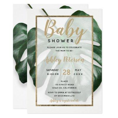 Gold tropical green monstera leaf baby shower Invitations