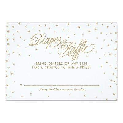 Gold Twinkle Stars Diaper Raffle Ticket Invitations