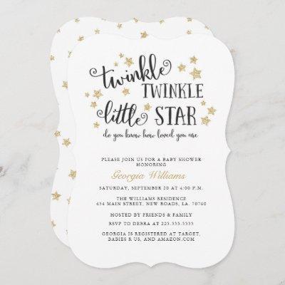 Gold Twinkle Twinkle Little Star Baby Shower Invitation