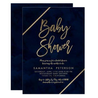 Gold typography navy blue watercolor Baby shower Invitation