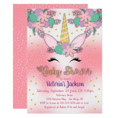 Gold Unicorn Floral Baby Shower Invitations