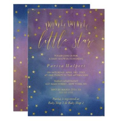 Gold & Watercolor Twinkle Little Star Baby Shower Invitations