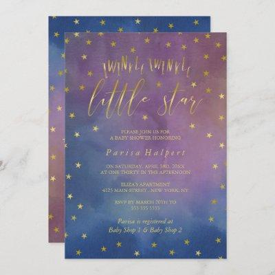 Gold & Watercolor Twinkle Little Star Baby Shower Invitation