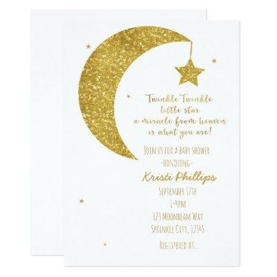 Gold & White Moon & Stars Baby Shower Invitations