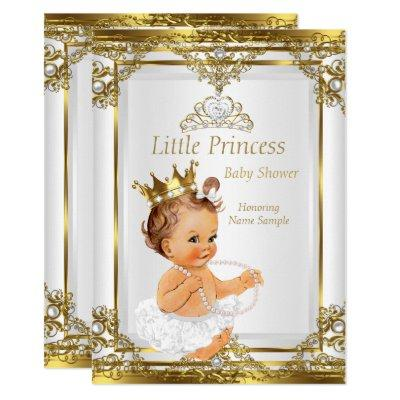 Gold White Pearl Princess Baby Shower Brunette Invitations