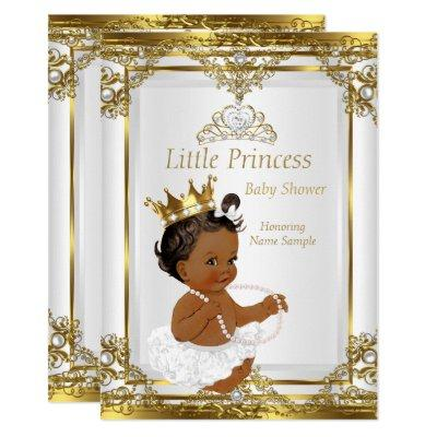 Gold White Pearl Princess Baby Shower Ethnic Invitations
