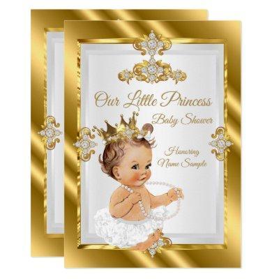 Gold White Princess Baby Shower Brunette Invitation