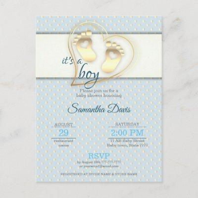 Golden Baby Boy Footprints and Hearts Baby Shower Invitation Postcard