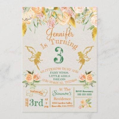 Golden Fairy Floral Birthday Invitation