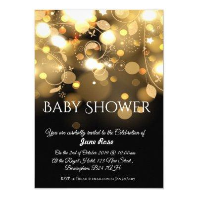 Golden lights and glow baby shower invitation