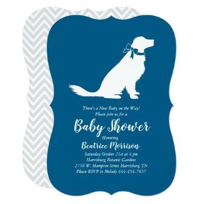 Golden Retriever Dog Baby Shower French Blue Boy Invitation