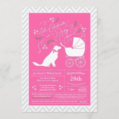 Golden Retriever Dog Baby Shower French Pink Girl Invitation