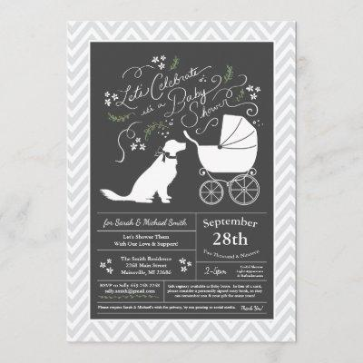 Golden Retriever Dog Baby Shower Gender Neutral Invitation
